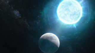 The white dwarf, placed next to the moon in this artist's depiction, is only slightly larger than the moon.