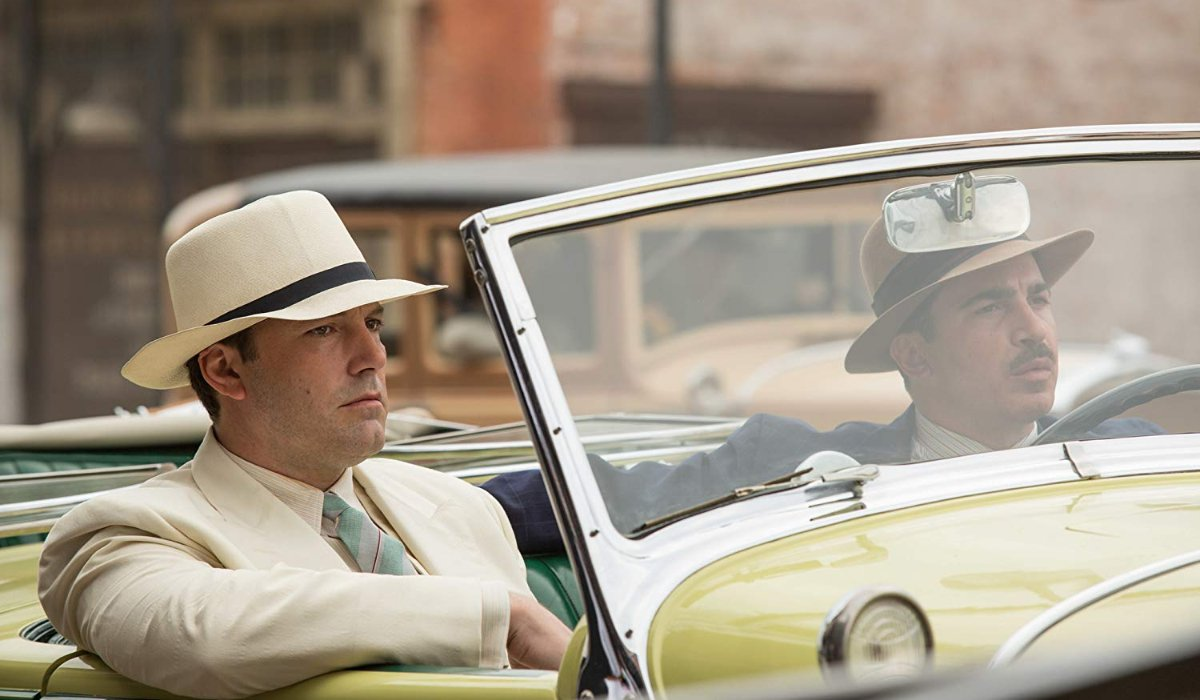 Live By Night Ben Affleck rides around with Chris Messina in a vintage car