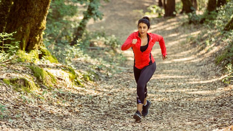 Woman out trail running