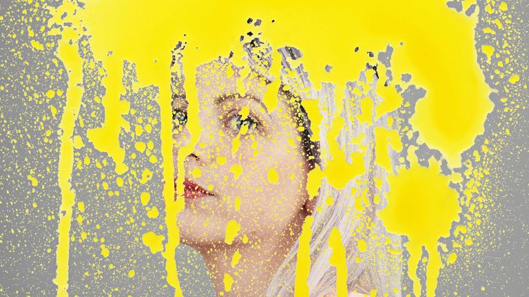 An illustration of a young woman's face has been painted over with bright splodges of yellow paint covering her face to depict brain fog