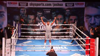 Anthony Joshua in the ring ahead of his fight with Usyk