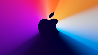 The Apple logo with a colorful background