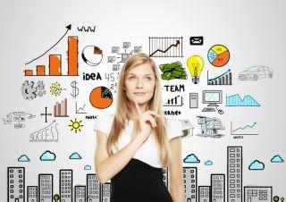 A woman brainstorms new ideas.