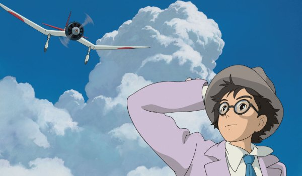 The Wind Rises Jiro looks up at an airplane