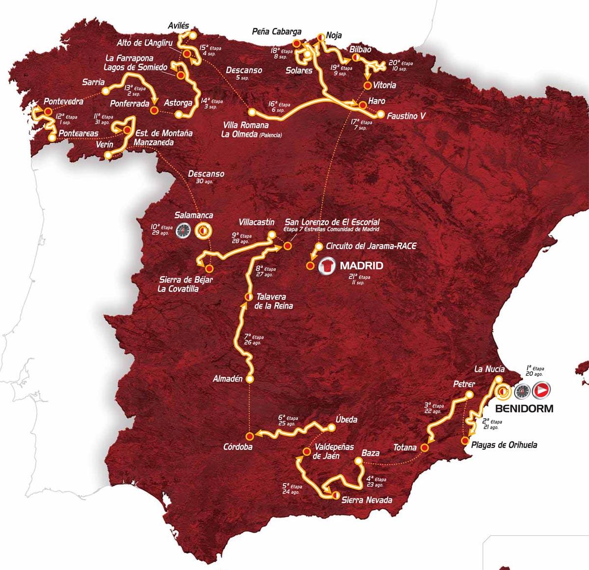 Vuelta a Espana 2011 map