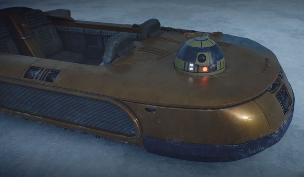speeder piloted by a droid in The Mandalorian