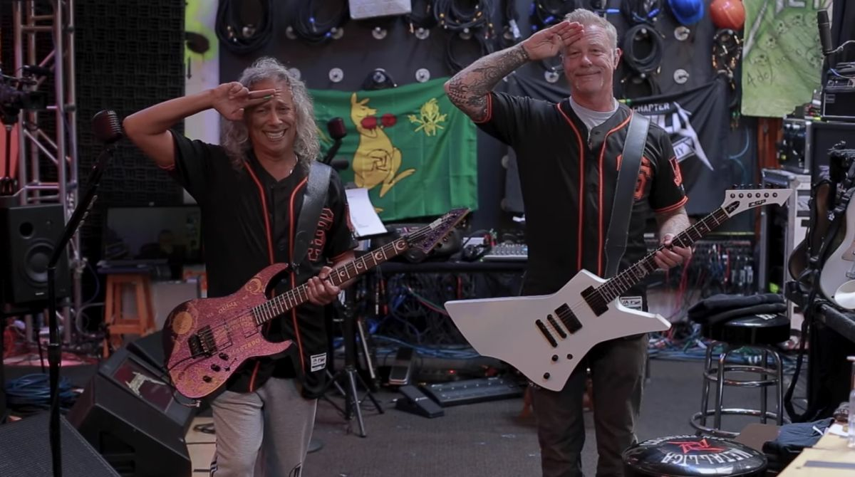James Hetfield and Kirk Hammett perform The Star-Spangled Banner virtually before San Francisco Giants home game