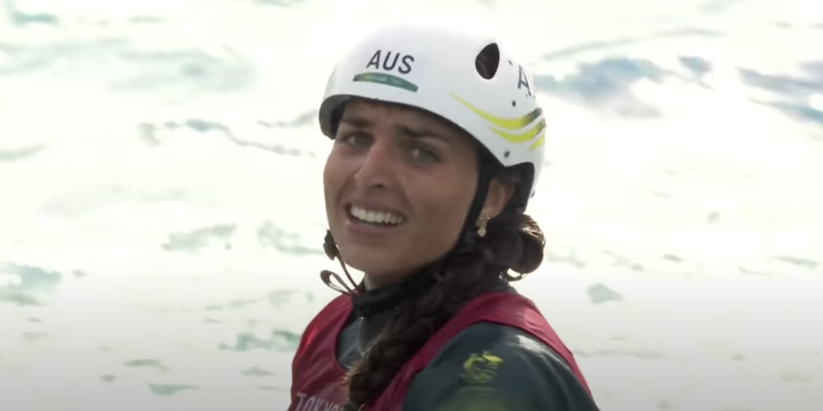 tokyo olympics jess fox canoeing gold medal screenshot