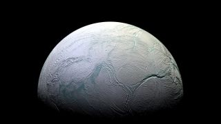 An image of Saturn's moon Enceladus taken by NASA's Cassini spacecraft.
