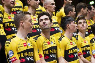 Tom Dumoulin (second left) lines up alongside his new Jumbo-Visma teammates at their 2020 training camp