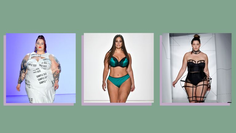images of three famous plus size models on the catwalk on a green background
