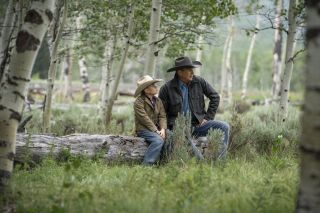 "Brecken Merrill (l) as Tate Dutton and Kevin Costner as John Dutton in Paramount Network's ""Yellowstone"""