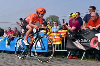 OUDENAARDE BELGIUM APRIL 07 Marianne Vos of The Netherlands and Team CCCLiv Cobblestones Public Fans during the 16th Tour of Flanders 2019 Ronde van Vlaanderen Women Elite a 1592km race from Oudenaarde to Oudenaarde RondeVlaanderen FlandersClassic RVV19 on April 07 2019 in Oudenaarde Belgium Photo by Luc ClaessenGetty Images