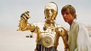 C-3PO and Luke Skywalker in Star Wars Episode IV: A New Hope