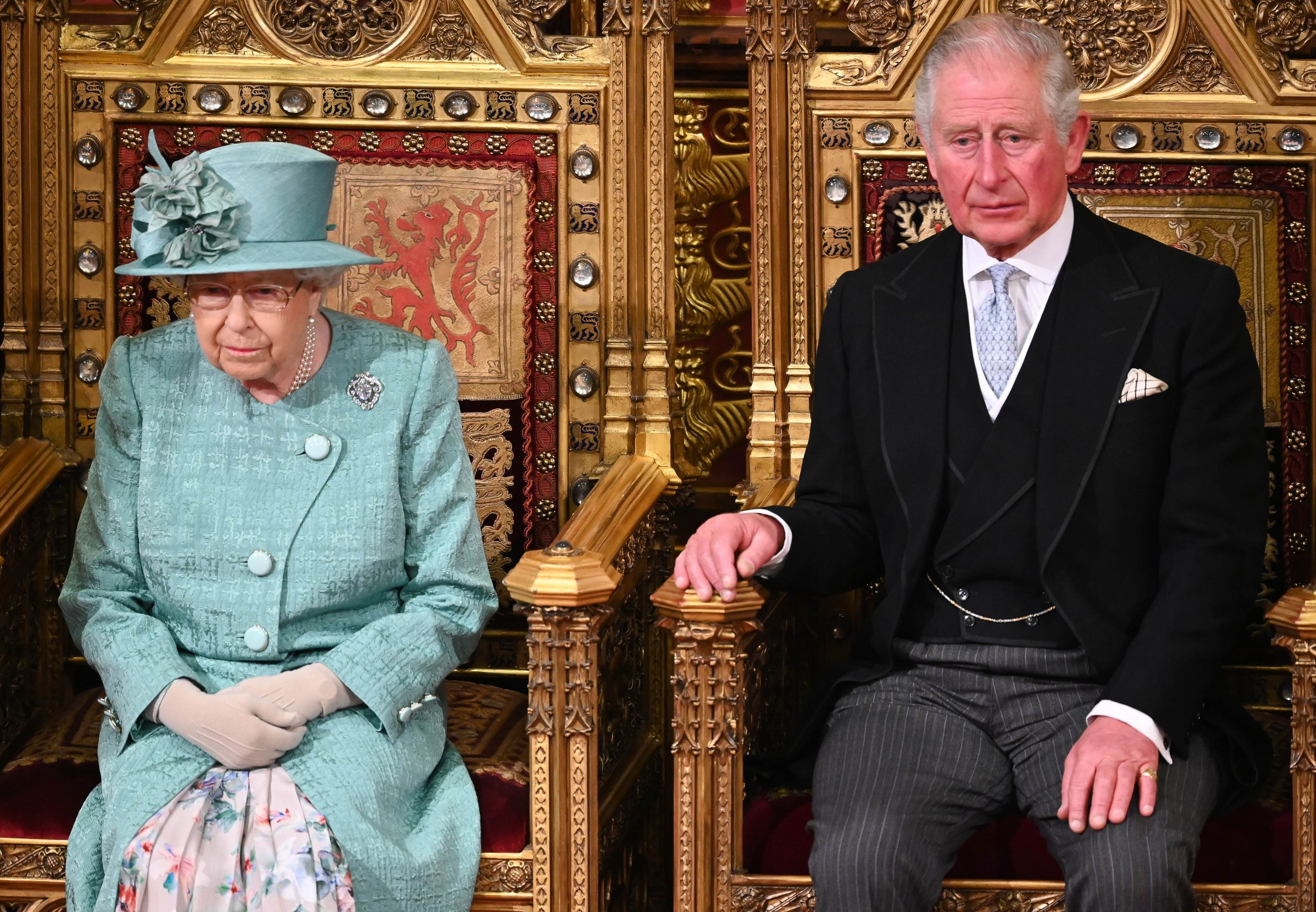 the queen divides with her dress at state opening
