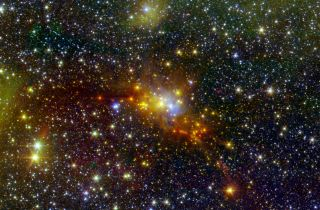 An infrared image shows a patch of newborn stars in the Serpens constellation.