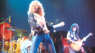 Robert Plant and Jimmy Page of Led Zeppelin onstage.