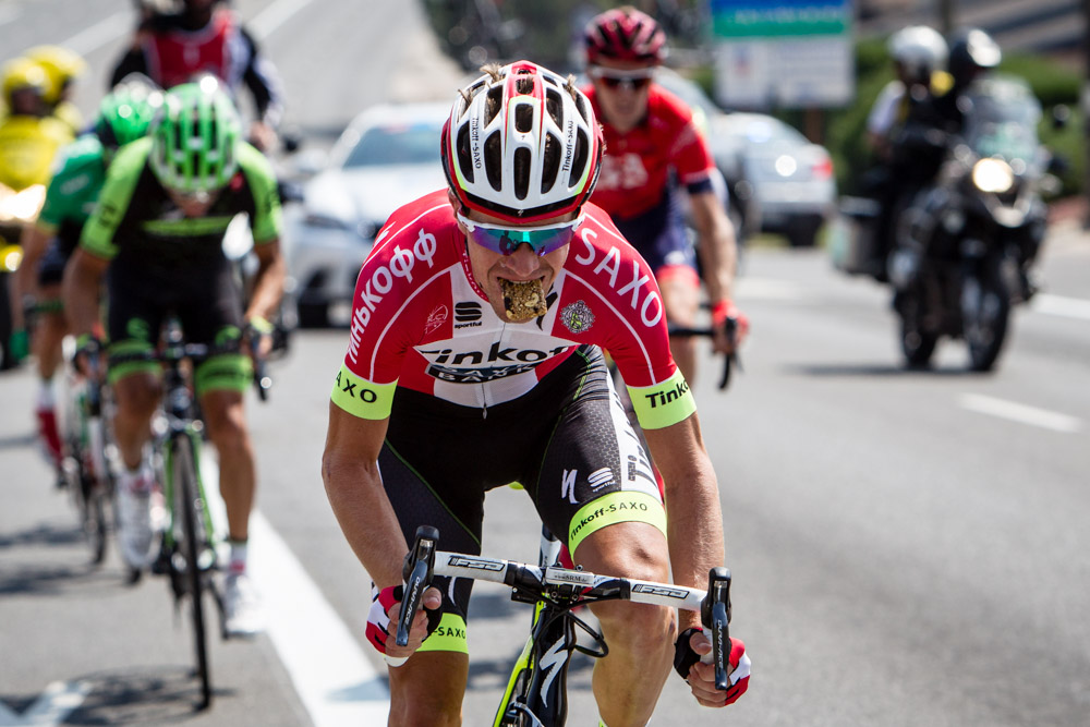 Chris Anker Sorensen (Tinkoff-Saxo) has lunch on the road