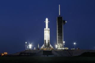 SpaceX's Falcon Heavy rocket as seen waiting on the launchpad.
