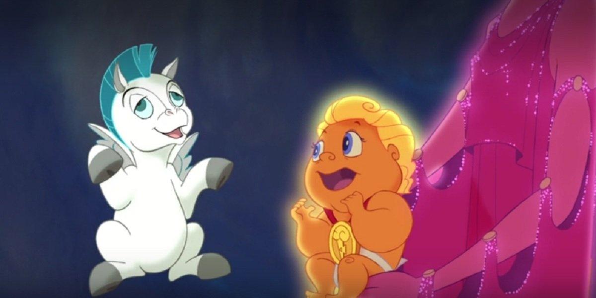 Hercules and baby Pegasus in Hercules