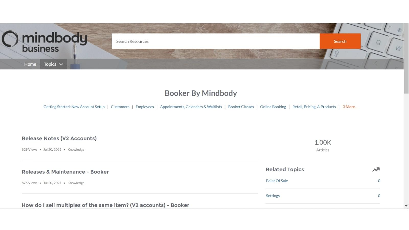 Booker POS mindbody support center screenshot