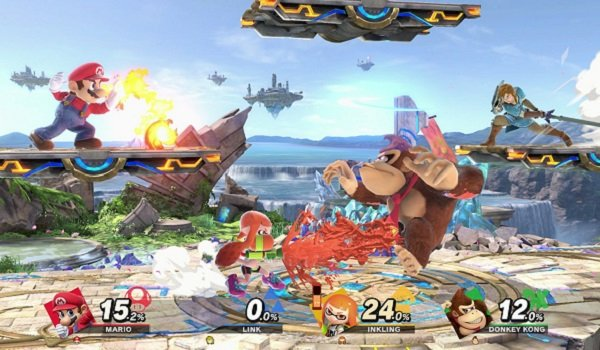 Mario, Link, Donkey Kong and Inkling Girl fighting in Super Smash Bros. Ultimate