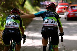Letizia Borghesi (on right) rides alongside teammate Giulia Marchesini in 2020 Giro Rosa