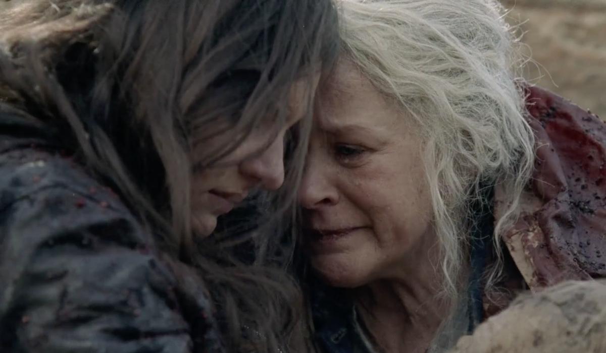carol and lydia crying the walking dead season 10