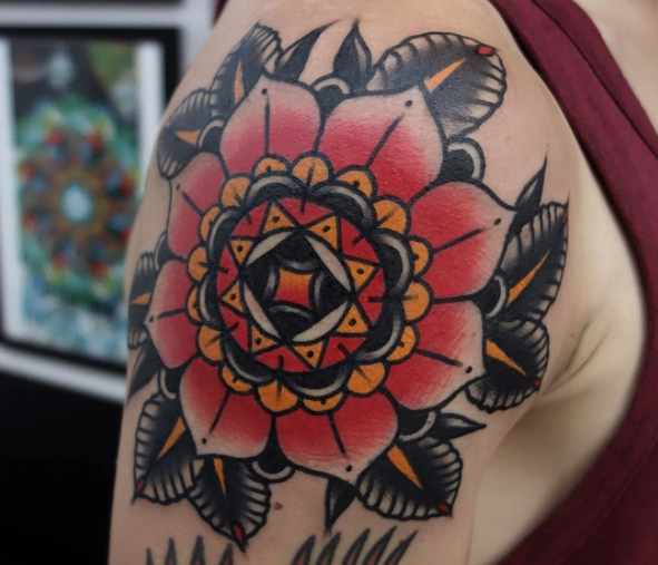 Colourful mandala tattoo