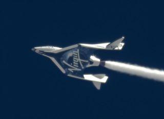 SpaceShipTwo's Rocket Nozzle in Flight