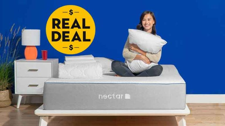 Nectar Mattress Labor Day sale: woman sat on bed with acessories
