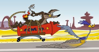 Wile E. Coyote attempts to kill the Roadrunner with an Acme firework