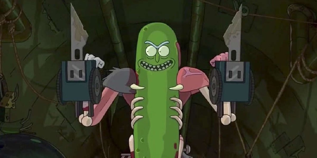 Rick and Pickle Rick in Rick and Morty.