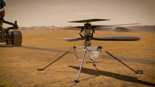 An artist's depiction of NASA's Ingenuity helicopter on Mars.