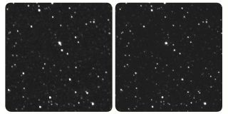 "Images of the star Proxima Centauri captured by NASA's New Horizons spacecraft (left) and a ground-based telescope (right). Use a stereo viewer for these photos; if you don't have a viewer, change your focus from the image by looking ""through"" it (and the screen) and into the distance. This creates the effect of a third image in the middle; try setting your focus on that third image."