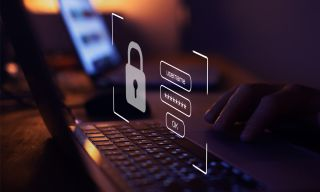 Abstract images depicting cyber security with a lock and PC keyboard