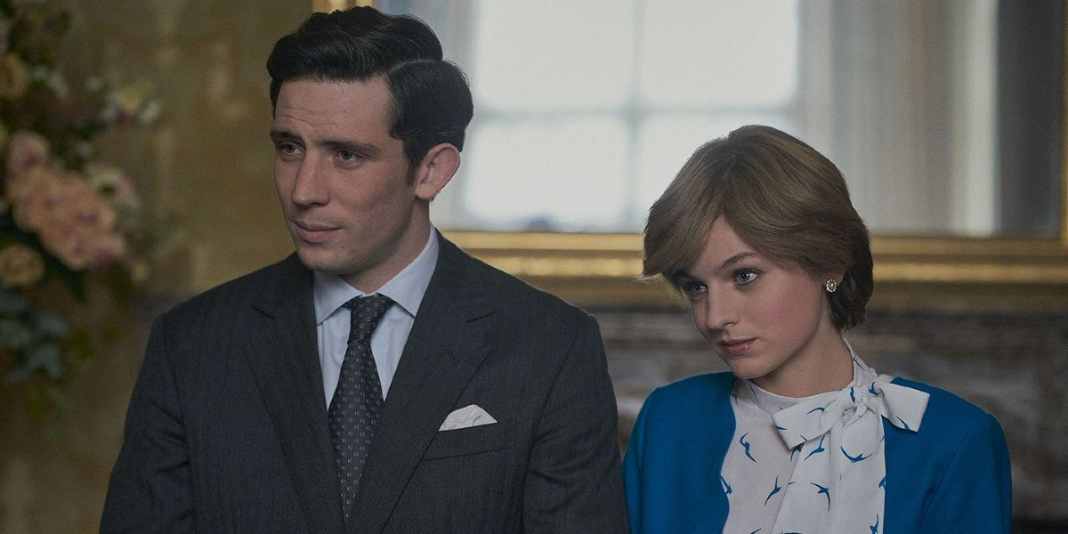 Josh O'Connor as Prince Charles and Emma Corrin as Princess Diana on The Crown (2020)