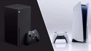 Xbox Series X with controller and PS5 with controller