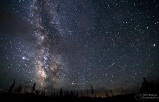 Delta Aquarid Meteor Over Yellowstone National Park