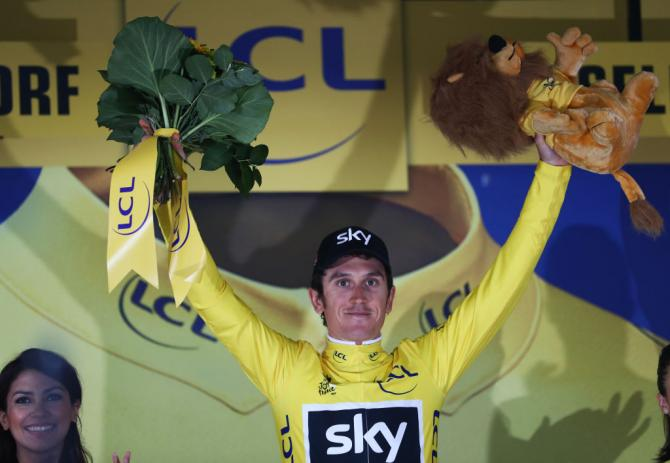 Geraint Thomas in yellow after winning stage 1 of the Tour de France