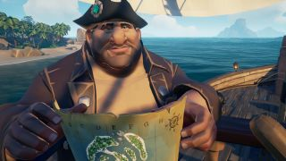 A pirate holds a map