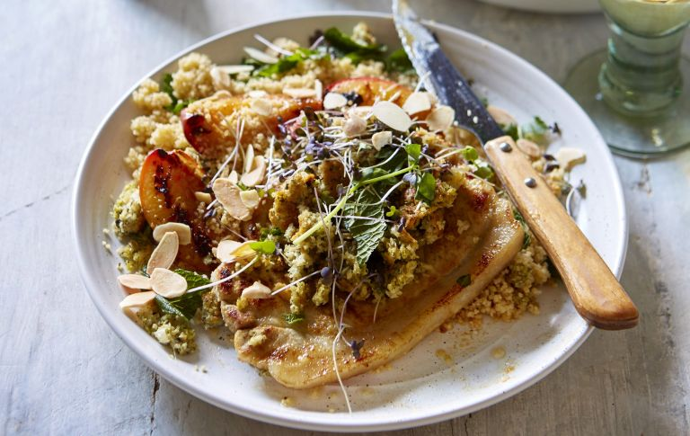Grilled peaches couscous with glazed pork chops