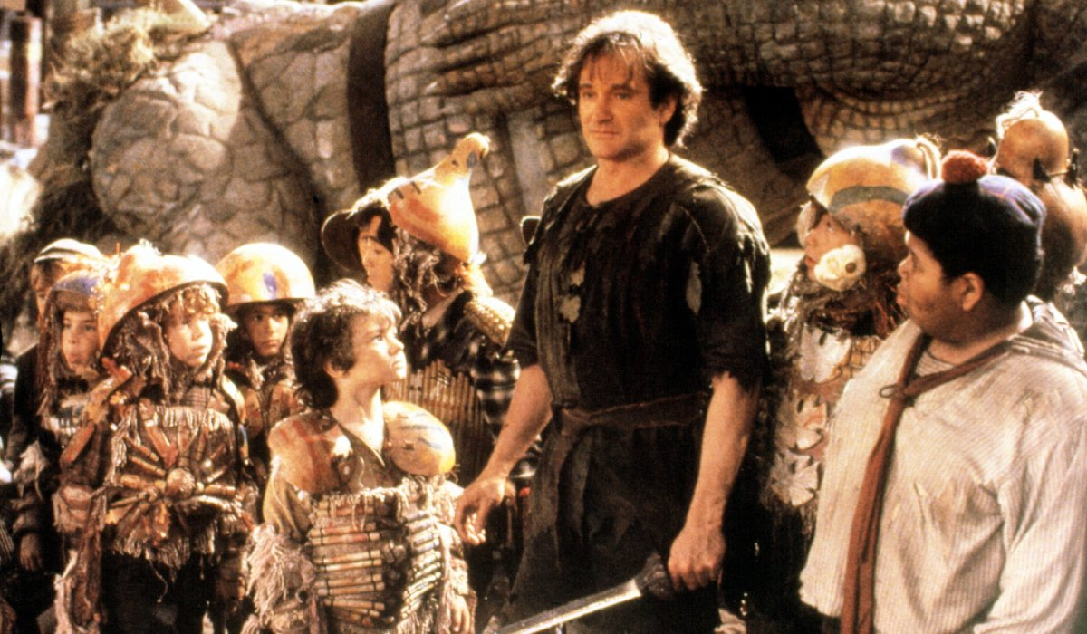 Hook Robin Williams stands with the Lost Boys