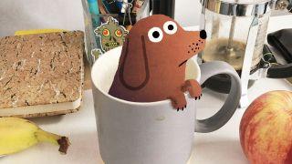 John Bond's dog illustration in a tea cup