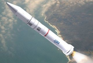 An artist's illustration of Japan's new Epsilon rocket.
