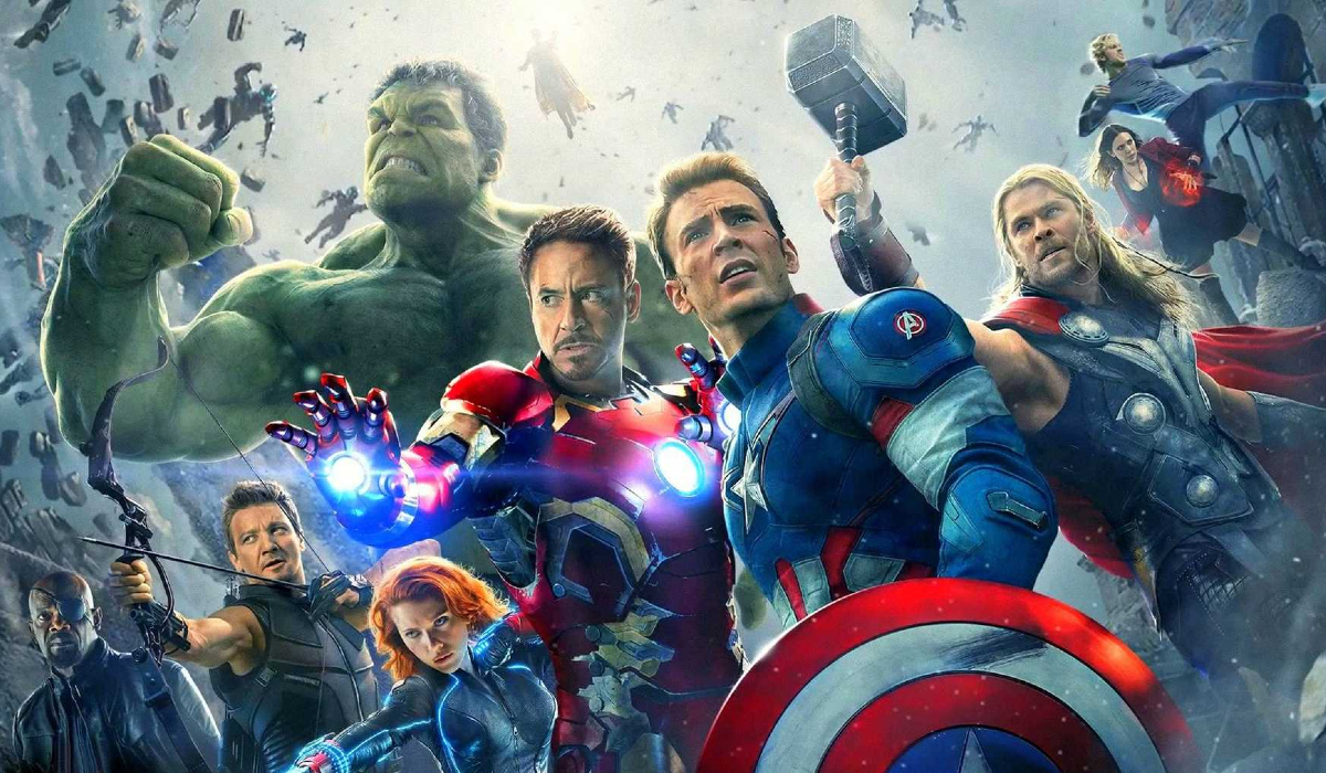 Avengers: Age of Ultron the Avengers surrounded by Ultron's army