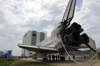 Space shuttle Atlantis is slowly towed from the Shuttle Landing Facility to an orbiter processing facility at NASA's Kennedy Space Center in Florida for the last time. Atlantis' final return from space at 5:57 a.m. EDT secured the space shuttle fleet's pl