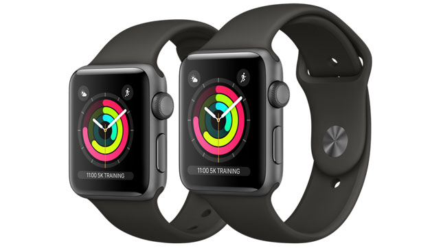 38mm Apple Watch 3 on the left, 42mm on the right (Image Credit: Apple)
