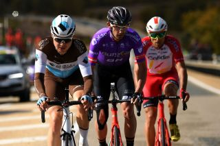 EJEADELOSCABALLEROS SPAIN OCTOBER 23 Harry Tanfield of The United Kingdom and Team AG2R La Mondiale Luis Angel Mate Mardones of Spain and Team Cofidis Solutions Credits Jesus Ezquerra Muela of Spain and Team Burgos BH Willie Smit of South Africa and Team Burgos BH Breakaway during the 75th Tour of Spain 2020 Stage 4 a 1917km stage from Garray Numancia to Ejea de los Caballeros lavuelta LaVuelta20 La Vuelta on October 23 2020 in Ejea de los Caballeros Spain Photo by David RamosGetty Images