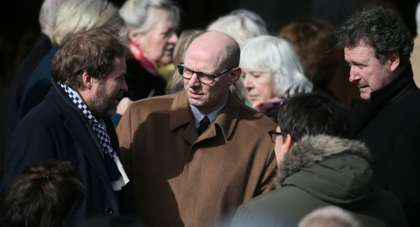 Ardal O'Hanlon (left) and Arthur Mathews at the funeral of late actor Frank Kelly